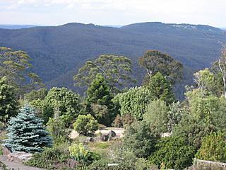 Blue Mountains Botanic Garden, im Hintergrund Blick auf die Blue Mountains. © SuperFantastic